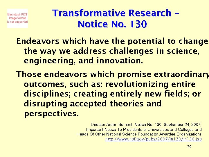 Transformative Research – Notice No. 130 Endeavors which have the potential to change the