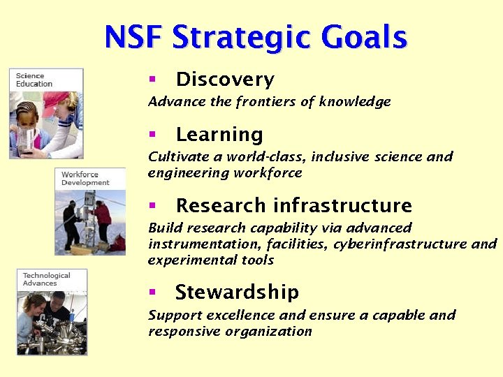 NSF Strategic Goals § Discovery Advance the frontiers of knowledge § Learning Cultivate a