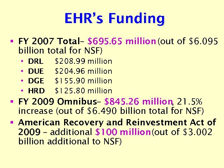 EHR's Funding § FY 2007 Total– $695. 65 million (out of $6. 095 billion