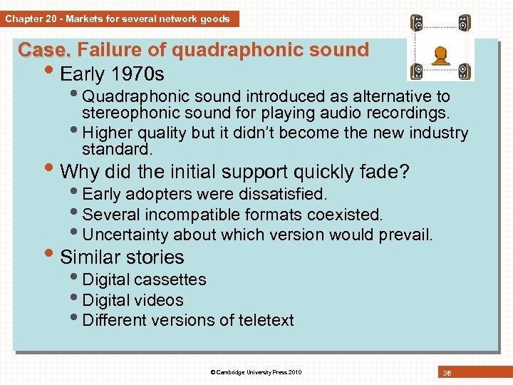 Chapter 20 - Markets for several network goods Case. Failure of quadraphonic sound •