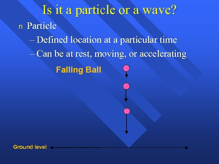 Is it a particle or a wave? n Particle – Defined location at a
