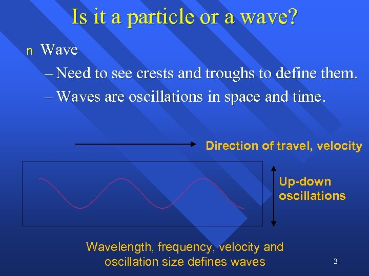 Is it a particle or a wave? n Wave – Need to see crests