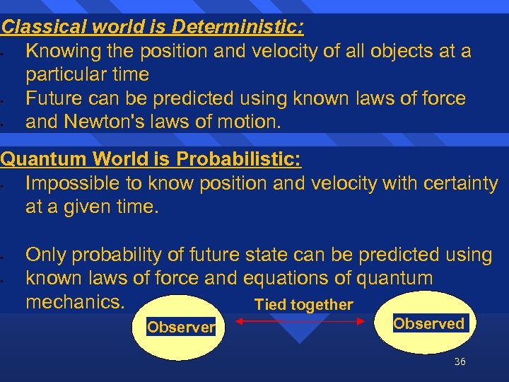Classical world is Deterministic: • Knowing the position and velocity of all objects at