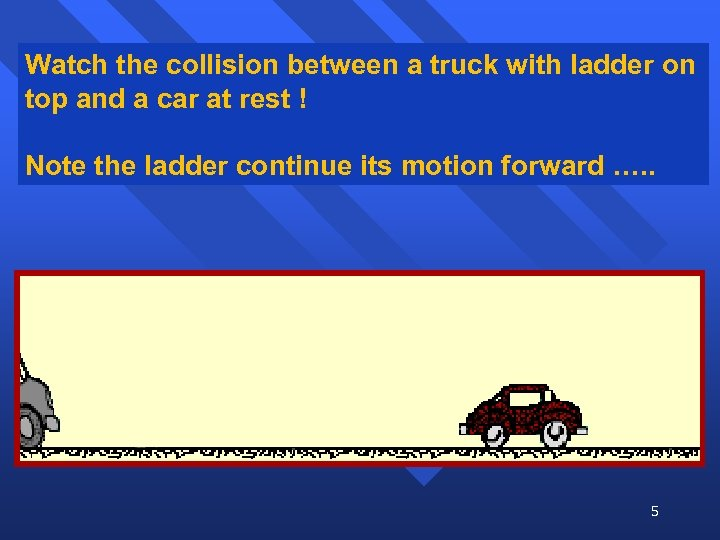 Watch the collision between a truck with ladder on top and a car at