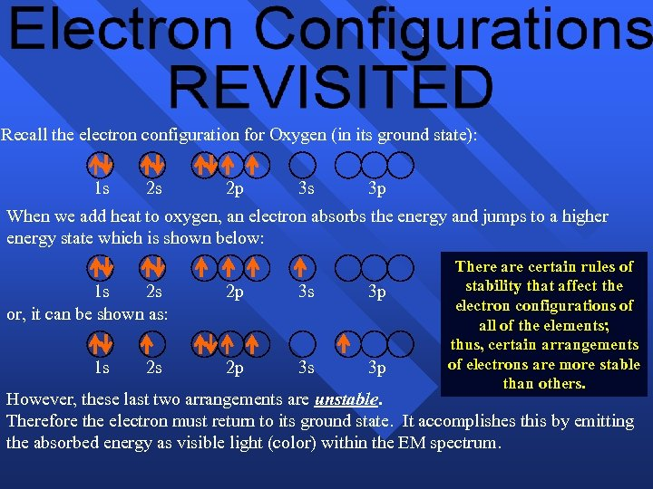 Recall the electron configuration for Oxygen (in its ground state): 1 s 2 s