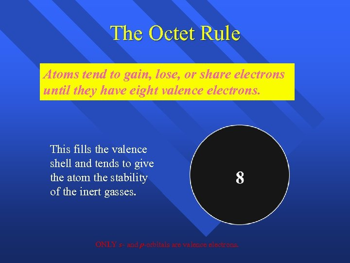 The Octet Rule Atoms tend to gain, lose, or share electrons until they have