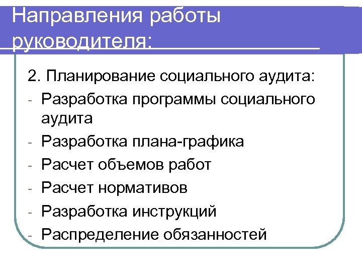 Направления работы руководителя: 2. Планирование социального аудита: - Разработка программы социального аудита - Разработка