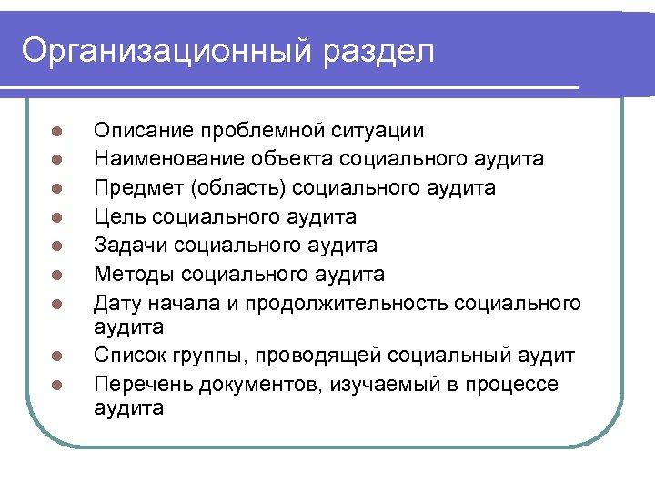 Организационный раздел l l l l l Описание проблемной ситуации Наименование объекта социального аудита