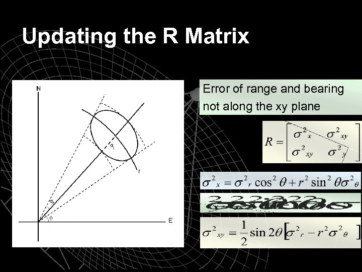 Updating the R Matrix Error of range and bearing not along the xy plane
