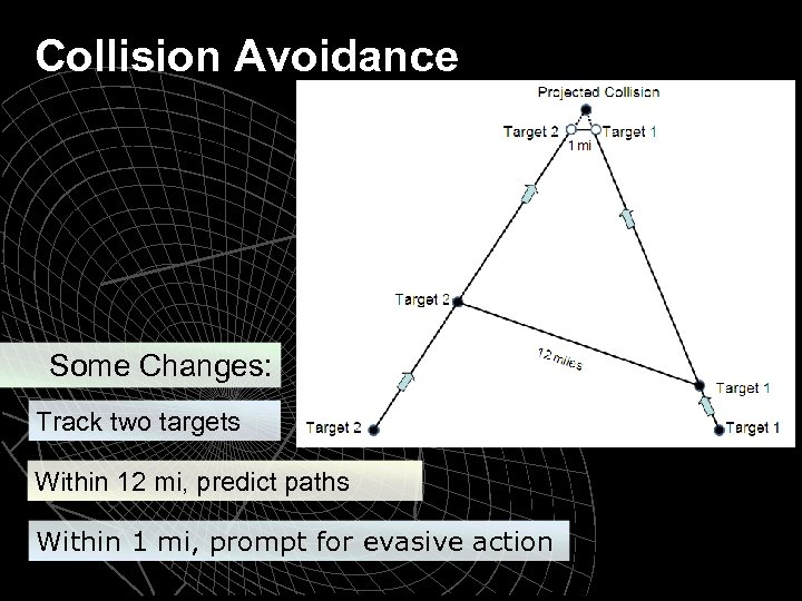 Collision Avoidance Some Changes: Track two targets Within 12 mi, predict paths Within 1