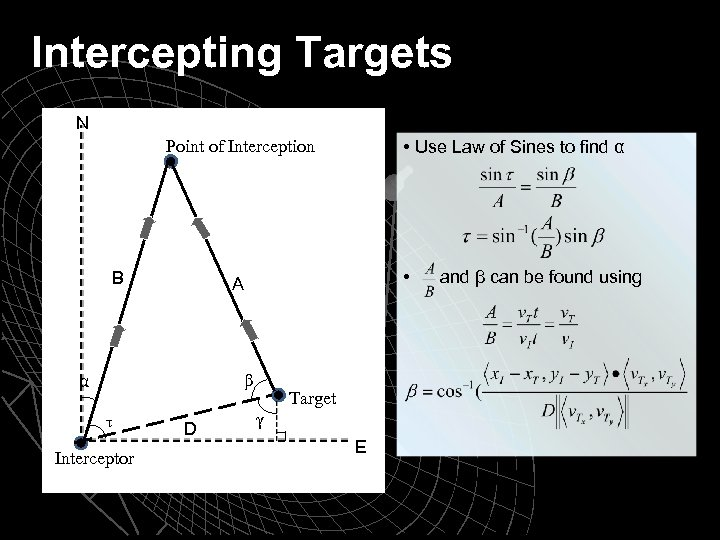 Intercepting Targets N • Use Law of Sines to find α Point of Interception