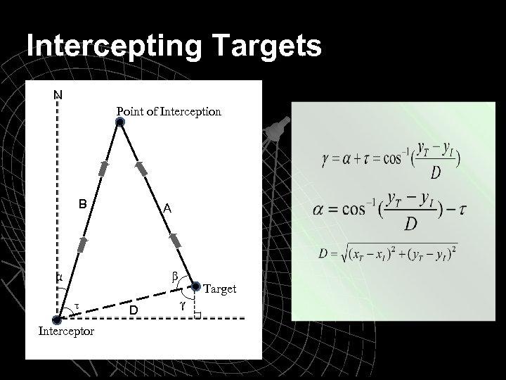 Intercepting Targets N Point of Interception B A α β τ Interceptor D Target