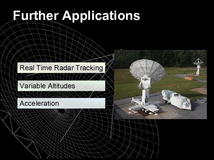 Further Applications Real Time Radar Tracking Variable Altitudes Acceleration