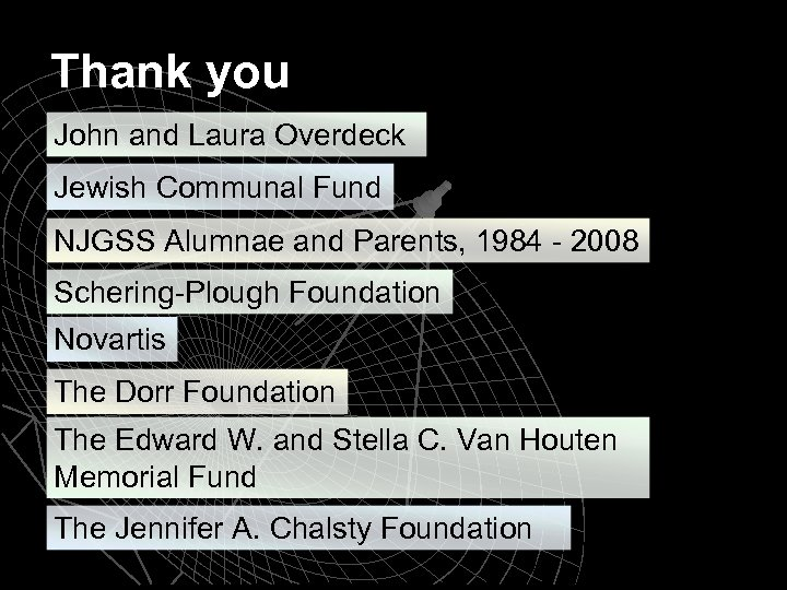 Thank you John and Laura Overdeck Jewish Communal Fund NJGSS Alumnae and Parents, 1984