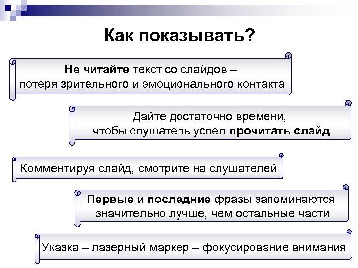 Как показывать? Не читайте текст со слайдов – потеря зрительного и эмоционального контакта Дайте
