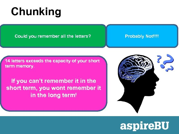 Chunking Could you remember all the letters? 14 letters exceeds the capacity of your