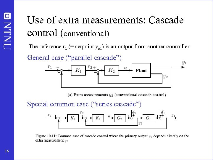 Use of extra measurements: Cascade control (conventional) The reference r 2 (= setpoint ys