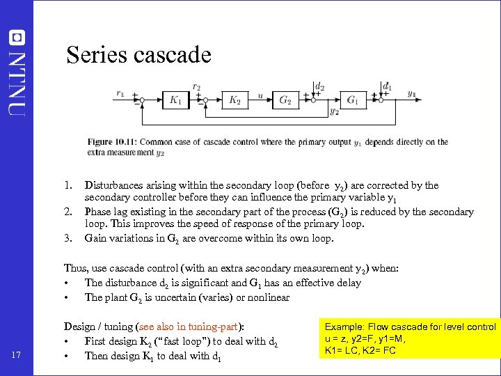Series cascade 1. 2. 3. Disturbances arising within the secondary loop (before y 2)