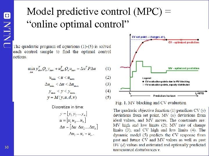 "Model predictive control (MPC) = ""online optimal control"" Discretize in time: 30"