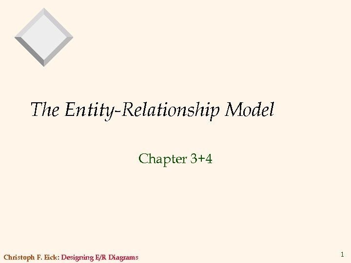 The Entity-Relationship Model Chapter 3+4 Christoph F. Eick: Designing E/R Diagrams 1