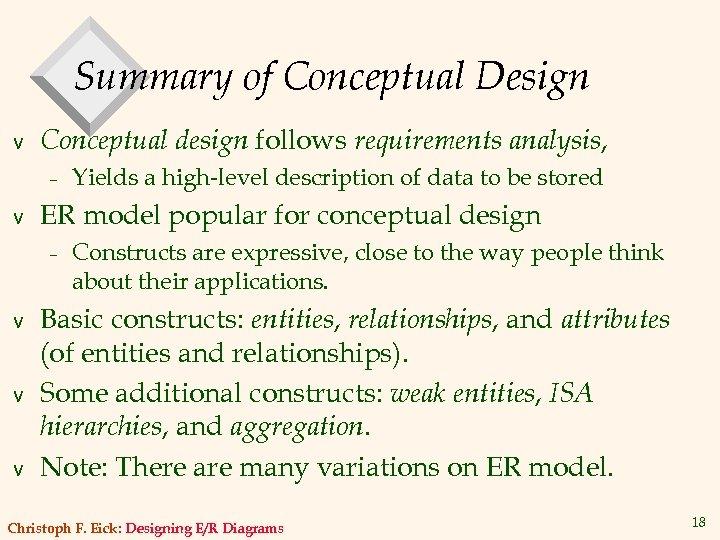 Summary of Conceptual Design v Conceptual design follows requirements analysis, – v ER model