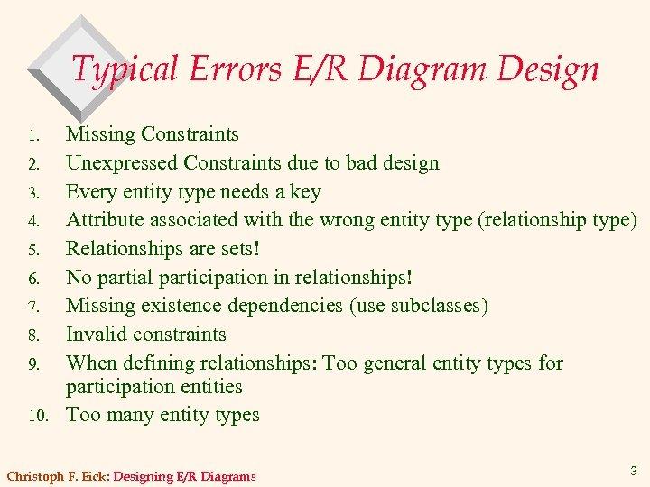 Typical Errors E/R Diagram Design 1. 2. 3. 4. 5. 6. 7. 8. 9.