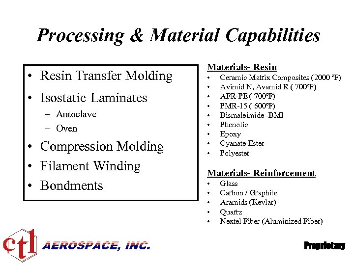 Processing & Material Capabilities • Resin Transfer Molding • Isostatic Laminates – Autoclave –