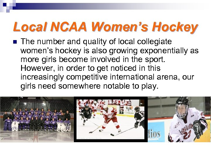 Local NCAA Women's Hockey n The number and quality of local collegiate women's hockey