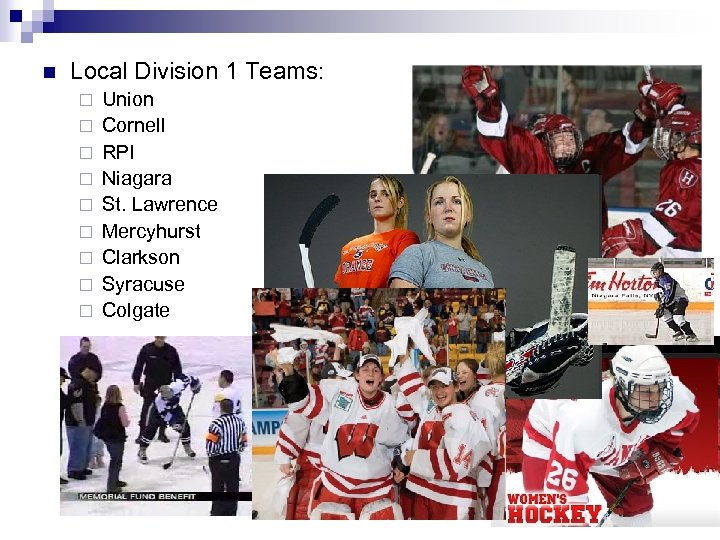 n Local Division 1 Teams: ¨ ¨ ¨ ¨ ¨ Union Cornell RPI Niagara