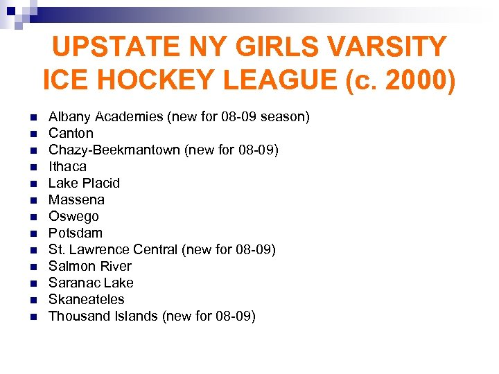 UPSTATE NY GIRLS VARSITY ICE HOCKEY LEAGUE (c. 2000) n n n n Albany