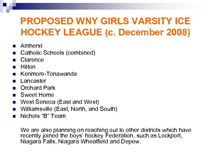 PROPOSED WNY GIRLS VARSITY ICE HOCKEY LEAGUE (c. December 2008) n n n Amherst