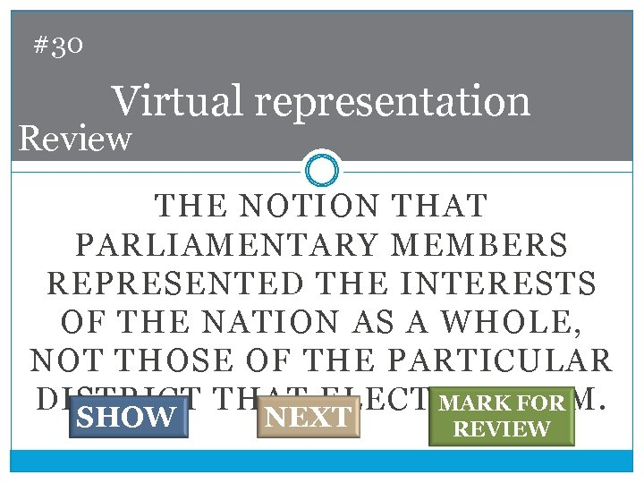 #30 Virtual representation Review THE NOTION THAT PARLIAMENTARY MEMBERS REPRESENTED THE INTERESTS OF THE