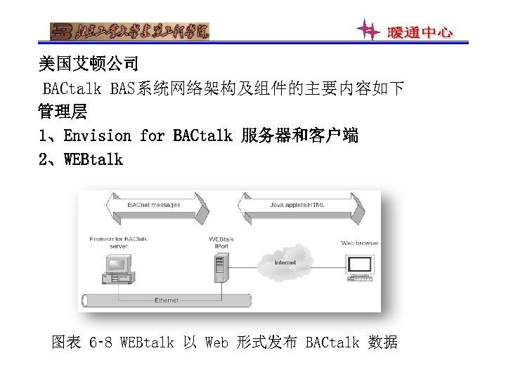美国艾顿公司 BACtalk BAS系统网络架构及组件的主要内容如下 管理层 1、Envision for BACtalk 服务器和客户端 2、WEBtalk 图表 6‑ 8 WEBtalk 以