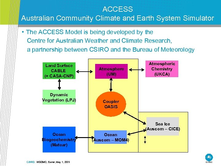 ACCESS Australian Community Climate and Earth System Simulator • The ACCESS Model is being