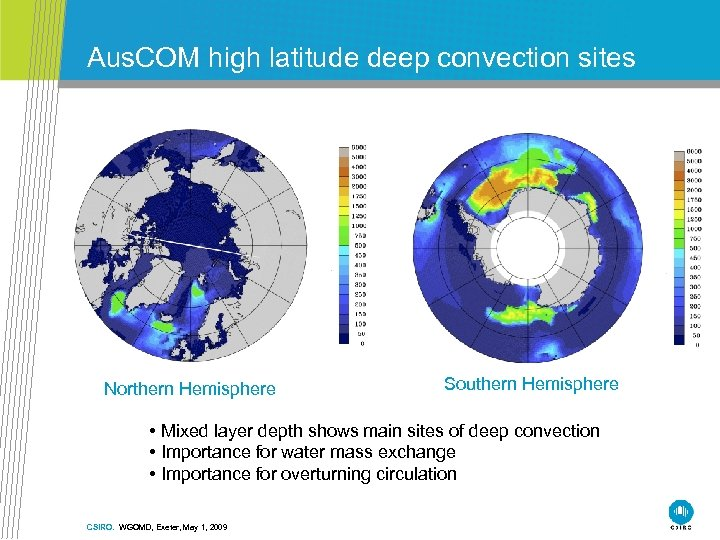 Aus. COM high latitude deep convection sites Northern Hemisphere Southern Hemisphere • Mixed layer