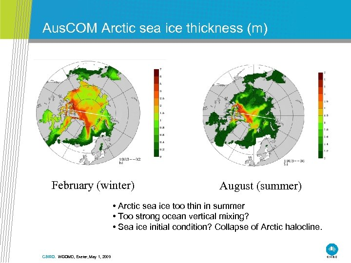 Aus. COM Arctic sea ice thickness (m) February (winter) August (summer) • Arctic sea
