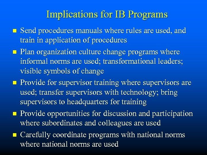Implications for IB Programs n n n Send procedures manuals where rules are used,