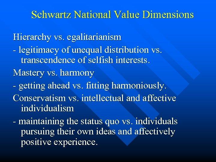 Schwartz National Value Dimensions Hierarchy vs. egalitarianism - legitimacy of unequal distribution vs. transcendence