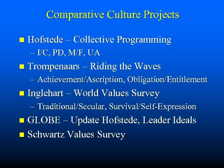 Comparative Culture Projects n Hofstede – Collective Programming – I/C, PD, M/F, UA n