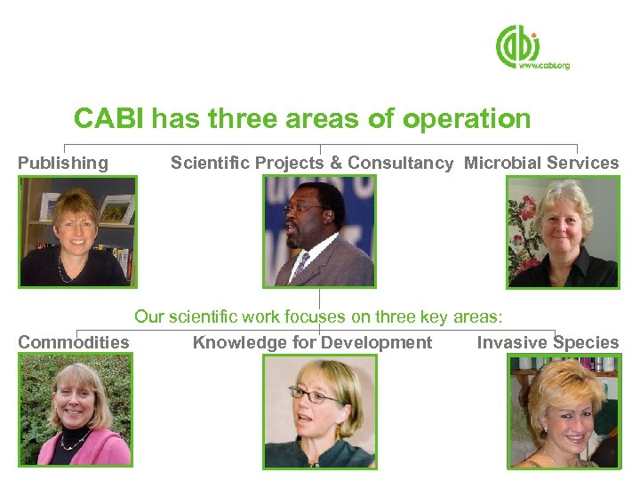 CABI has three areas of operation Publishing Scientific Projects & Consultancy Microbial Services Our