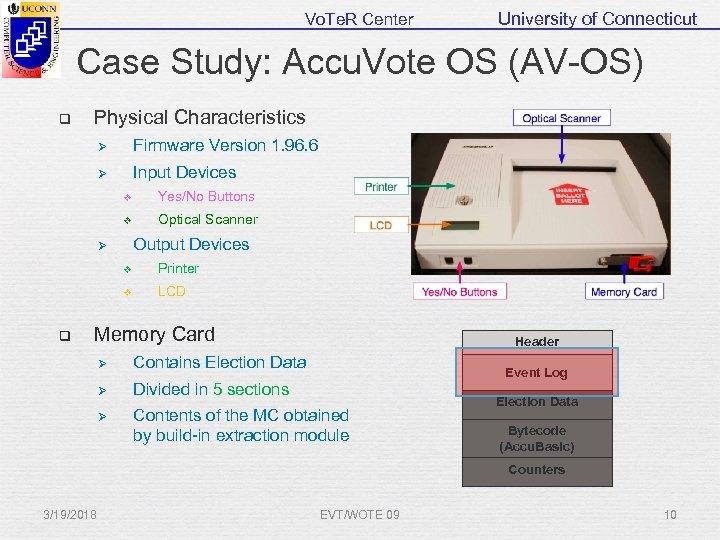 Vo. Te. R Center University of Connecticut Case Study: Accu. Vote OS (AV-OS) q