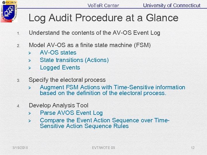 Vo. Te. R Center University of Connecticut Log Audit Procedure at a Glance 1.