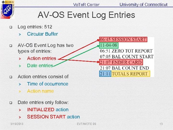 Vo. Te. R Center University of Connecticut AV-OS Event Log Entries q Log entries:
