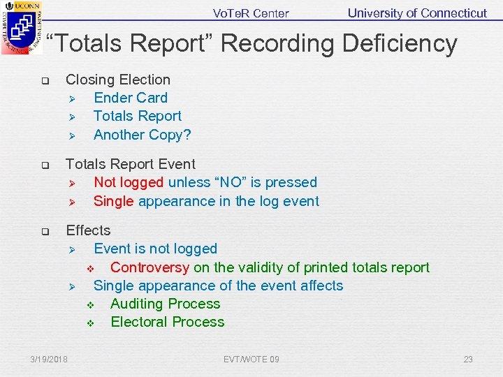 "Vo. Te. R Center University of Connecticut ""Totals Report"" Recording Deficiency q Closing Election"