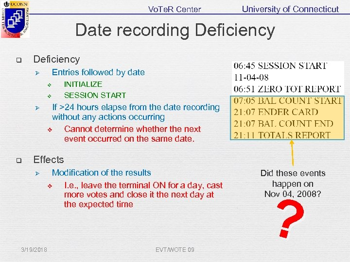 Vo. Te. R Center University of Connecticut Date recording Deficiency q Deficiency Entries followed