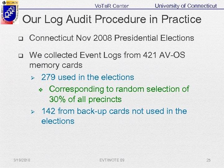 Vo. Te. R Center University of Connecticut Our Log Audit Procedure in Practice q