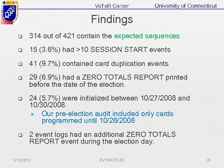 Vo. Te. R Center University of Connecticut Findings q 314 out of 421 contain