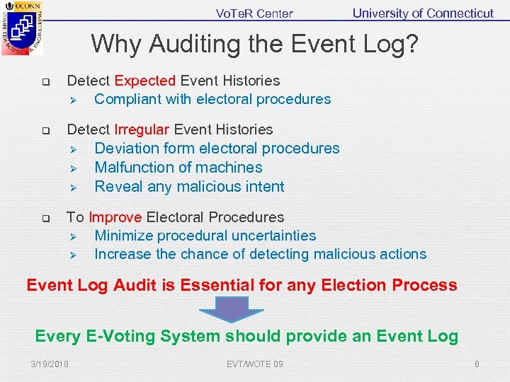 Vo. Te. R Center University of Connecticut Why Auditing the Event Log? q Detect