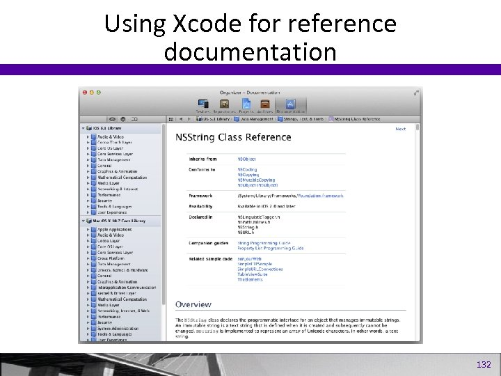 Using Xcode for reference documentation 132