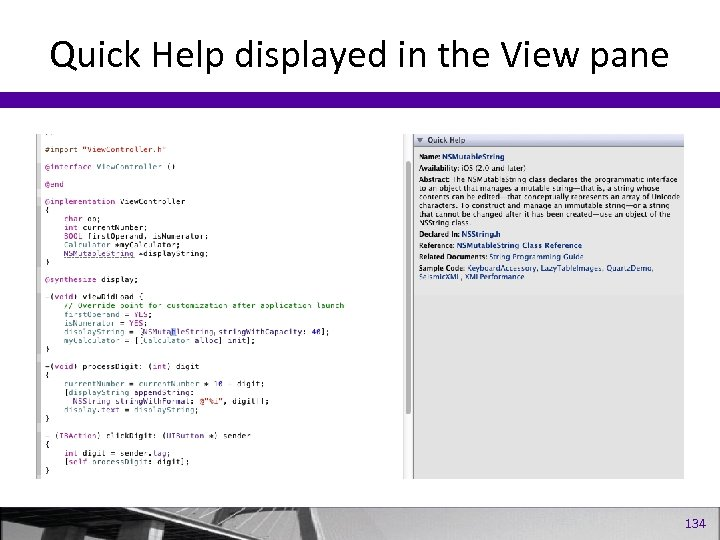 Quick Help displayed in the View pane 134